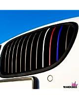 Autocollants pour les calandres de tous les modèles BMW - RÉFLÉCHISSANTS - Set de 24 autocollants pour voiture, 4 couleurs (bleu foncé, rouge, blanc-argenté, bleu clair)