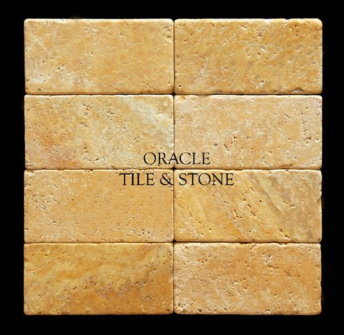 Gold/Yellow 3 X 6 Tumbled Brick Travertine Tile