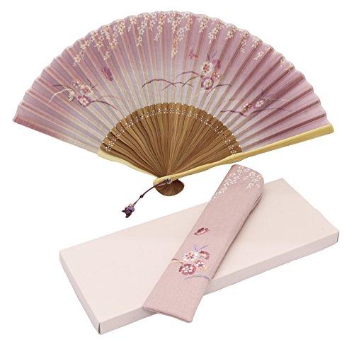 【女性用】 扇子 21cm うつろいセット ピンク (扇子袋付、紙箱入) 1L02215312