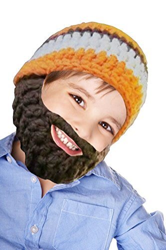 Boys Toddler Ski Wacky Beard Knit Winter Hat Beanie