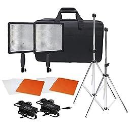Neewer® CN-576 576PCS LED Dimmable Ultra High Power Panel Digital Camera / Camcorder Video Light Kit, including (2)CN-576 LED Video Light, (2)Adapter, (2)Light Tripod, (2)Filter Kits(Orange, White, Transparent), (1)Light Bag