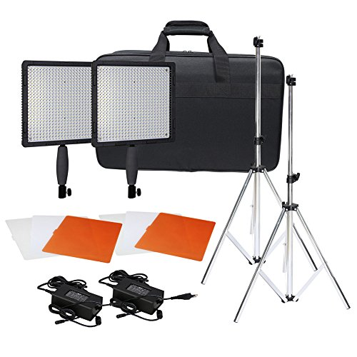 Neewer® CN-576 576PCS LED Dimmable Ultra High Power Panel Digital Camera / Camcorder Video Light Kit, including (2)CN-576 LED Video Light, (2)Adapter, (2)Light Tripod, (2)Filter Kits(Orange, White, Transparent), (1)Light Bag image