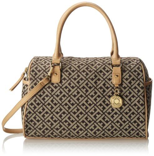 Tommy Hilfiger Tommy Club Satchel Jacquard Top Handle Bag,Dark Chocolate/Ecru,One Size
