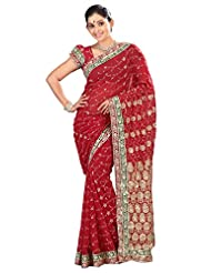 Designer Majestic Red Colored Embroidered Faux Georgette Saree By Triveni