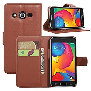 Tonsee Leather Wallet Pouch Case For Samsung Galaxy Core LTE SM-G386F (Brown)