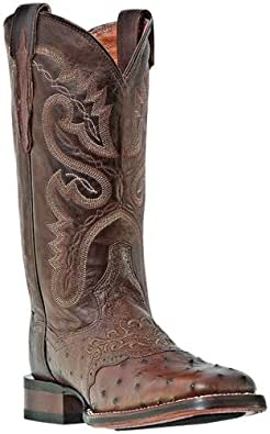 Dan Post Women's Junction Ostrich Cowgirl Boot Wide Square Toe Tobacco 10 M US