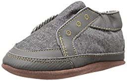 Robeez Stylish Steve Soft Sole Crib Shoe (Infant), Stone, 6-12 Months M US