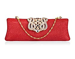 A4aadi PU Red Clutch For Women