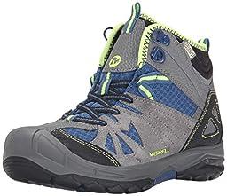 Merrell Capra Mid Waterproof Hiking Boot (Toddler/Little Kid/Big Kid), Grey/Blue, 4.5 M US Big Kid