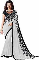 Fableela Women's Chiffon Saree with Blouse Piece (Grey)