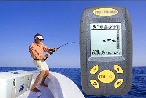 2016nouvelle version Sondeur portable écran LCD poisson Profondeur Alarme Finder 100M AP Glace de pêche de pêche Finder Echo touche avec boîte de présentation