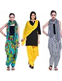 Gangaur Fashion Multi Colour Women's Patiala And Dupatta Set Of 3 ( Free Size)