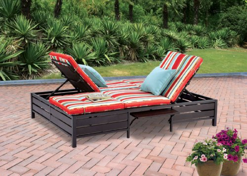 Double Chaise Lounger - This red stripe outdoor chaise lounge is comfortable sun patio furniture Guaranteed which can also be used in your garden, near your pool, or on your deck or lawn. The chaise longue or longe is a great recliner sofa chair. photo