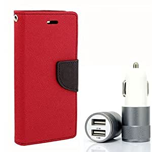 Aart Fancy Diary Card Wallet Flip Case Back Cover For HTC616 - (Red) + Dual ports USB car Charger With Ultra Power Technolgy by Aart Store.