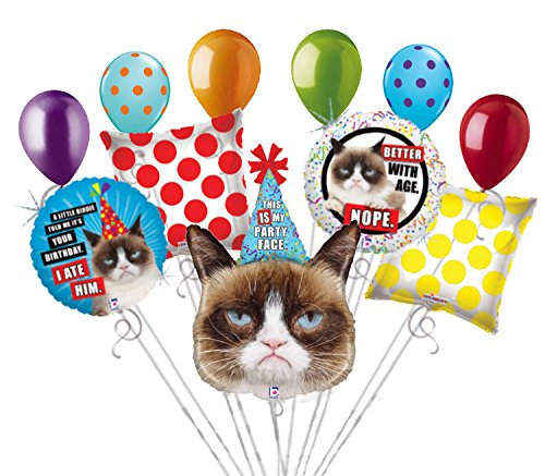 11 pc Grumpy Cat Balloon Bouquet Party Decoration Happy Birthday Better With Age (Grumpy Cat Party Supplies compare prices)