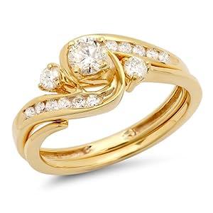 0.50 Carat (ctw) 10k Yellow Gold Round Diamond Ladies Swirl Bridal Engagement Ring Matching Band Set 1/2 CT (Size 7)