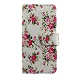 Floral Case for iPhone 6,Flower Case for iPhone 6 4.7 ,IKASEFU(TM) Girl's Cute Flower Floral Rose PU Leather Folio Case Protective Book Style Flip Cover for iPhone 6 with 4.7 inch screen (2014 Release)(White)