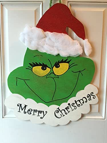 Amazoncom Grinch Christmas Door Hanger Decoration Handmade