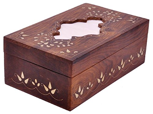 Souvnear Big Perfect-Fit Wood Kleenex Tissue Box Cover For A Rectangular 2 Ply, 160 Count Kleenex Tissue Box, Handmade In Sturdy, Hard Indian Rosewood With Decorative Brass Inlay-Work - Cool, Unique Large Designer Wooden Tissue Paper Holders And Gifts Fro