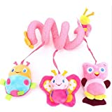 EJY Pink Baby Cot Musical Toys Baby Bed Mobile Soft Animal Hanging Toys
