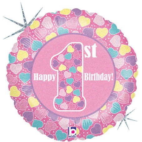 18 Inch First Birthday Girl Holographic Balloons