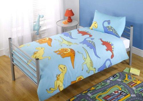 Dinosaur Single Duvet Cover and Pillowcase Set - Light Blue