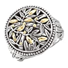 925 Silver Round Branch Design Ring with 18k Gold Accents- Size 6