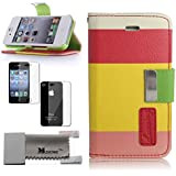 Premium Multi-Function Painting Series Wallet Leather Case Cover & Credit Card Holder and Phone Stand and Lanyard for iPhone 4 4S - Multicolor (Red + Yellow + Pink)