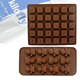 kilofly Silicone Chocolate Mold Tray Pack [Set of 2], Alphabet & Mood Figures