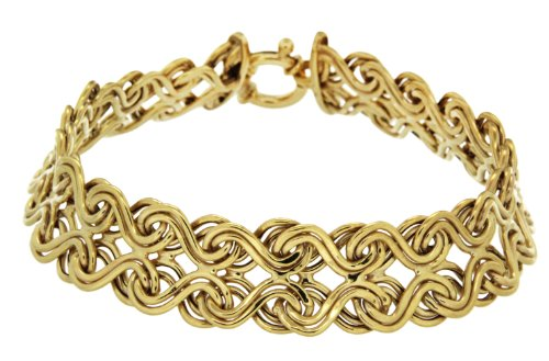 9ct Yellow Gold Fancy Curl Bracelet 7.13cm