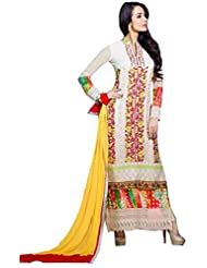 Exotic India Ivory Malaika Long Choodidaar Kameez Suit With Floral-Embro - White
