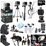 GoPro Hero3+ Black Edition ATV/Bike/Helmet Kit: Kit Includes Pro Series All In 1 ATV/Bike Kit + 50 Tripod + 27 Monopod + Gripster + 32GB Micro SD Card + Mount Adapter + 2 Extended Batteries with Charger + Deluxe Camera Backpack and a Global Distributions Cleaning Cloth (Helmet Not Included)