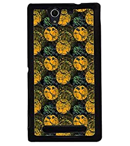 Printvisa Green And Yellow Circular Pattern Back Case Cover for Sony Xperia C3 Dual D2502::Sony Xperia C3 D2533