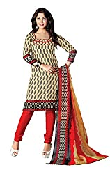 RUDRA FASHION Women BLACK & RED COTTON SALWAR SUIT DRESS MATERIAL WITH COTTON DUPATTA.DS 2101