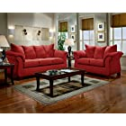 Sensations Red Microfiber Pillow Back Sofa and Loveseat Set, Made In USA