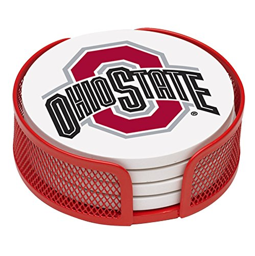 thirstystone-vohst-ha24-stoneware-drink-coaster-set-with-holder-ohio-state-university