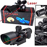 HawksTech sniper® Tactical 2.5-10x40 Rifle Scope with Illuminated Range Finder Reticle and Built-In Red or Green Laser Sight Reflex Picatinny Mount