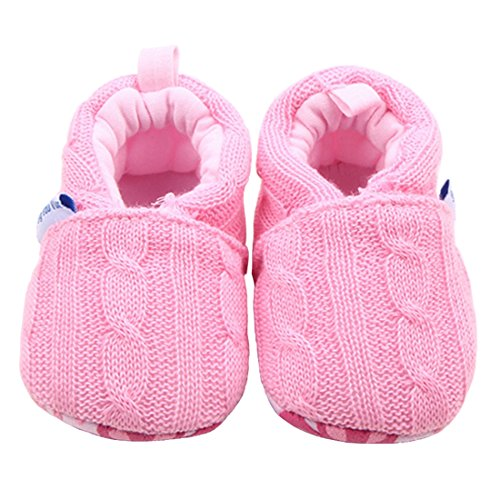 Beeliss Baby Loafers Winter Warm Knitted Cirb Shoes (12-18 Months, Pink)