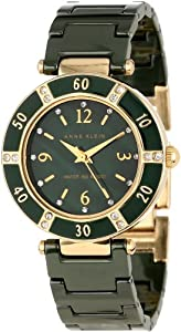 Anne Klein Women's 10/9416GMGN Swarovski Crystal Accented Gold-Tone Green Ceramic Bracelet Watch