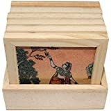 Bhavika Multicolour Rajasthani Painting Wooden Tea Coaster Set With Stand (9cm X 9cm X 1 Cm)