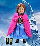 Anna Doll Clothes for American Girl Dolls: 3 Pc Princess Outfit By Dress Along Dolly (Includes Dress, Shawl, Boots)