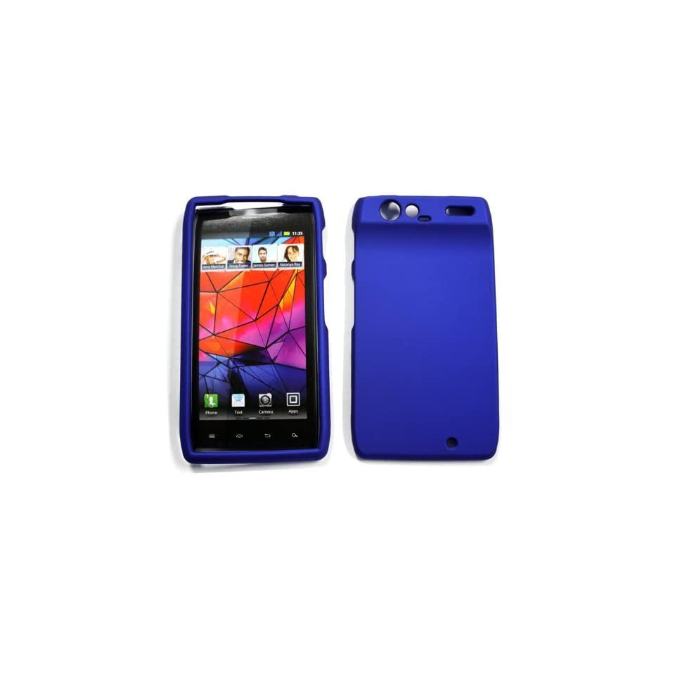 Motorola Droid RAZR XT910 XT912   Blue Rubberized Hard Plastic Case [AccessoryOne Brand]