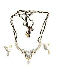 9blings American Diamond Gold Plated Mangalsutra Earring Set M16 [Jewellery]