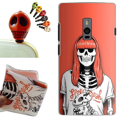 OnePlus Two Custodia,OnePlus Two Cover, Gallery88 [Tappi Anti-polvere] Custodia in TPU Gel Silicone Case per OnePlus Two -(Dinosaur Skull)