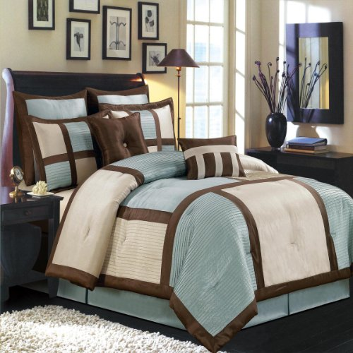 Queen Size Luxury 12Pc Morgan Blue Comforter Set Includes: One Comforter, Two Standard Pillow Shams, Two Euro Shams, Two Cushions, One Bedskirt And 4Pc Microfiber Sheet Set. By Sheetsnthings front-1037083