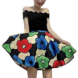 Lady Boat Neck Scalloped Trim Top w Floral Prints Hidden Zipper Skirt