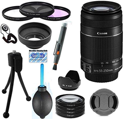 Canon Ef-S55 - 250Mm F/4.0-5.6 Is Ii Telephoto Zoom Lens(Import) Bundle For Canon 60D, 20D, Eos 7D, T1I, T2I, T3, T3I, T4I, T5I, Eos Rebel Sl1, Xs, Xsi, Xt, & Xti Digital Slr Cameras Plus + 15Pc Deluxe Bundle Accessory Kit
