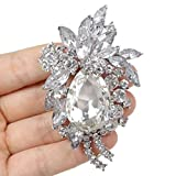 Bridal Silver-Tone Teardrop Flower Austrian Crystal Clear Brooch A10016-5