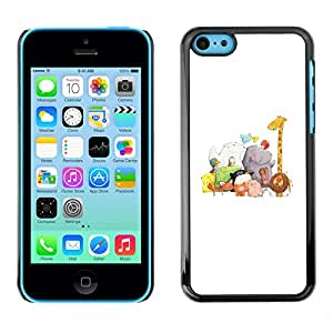 Omega Zoo White Drawing Giraffe Hippo Snap On Hard Back Case Cover Shell For Apple Iphone 5C