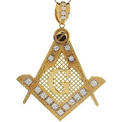 14k Two Tone Gold White CZ Accents 9.42cm Free Mason Masonic Large Pendant